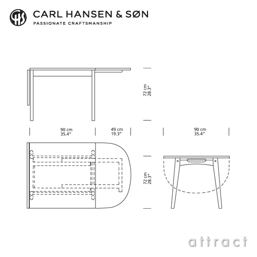 Carl Hansen & Son カールハンセン&サン CH002 伸長式 ダイニングテーブル W90~188cm デザイン:ハンス・J・ウェグナー